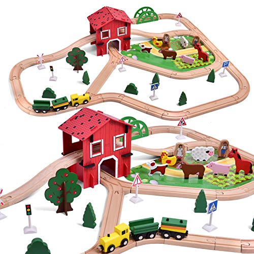 FUN LITTLE TOYS Wooden Farm & Tractor Play Set Wooden Train 77 Pieces Wood Construction Toys