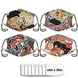 Best Japanese Mascaras - 4pcs Japanese Kimono Mask,Face Mask With Filter Pocket Review