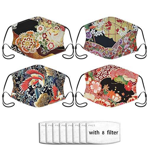 4pcs Japanese Kimono Mask,Face Mask With Filter Pocket Unisex Balaclava Washable Reusable Cloth Fashion Scarf