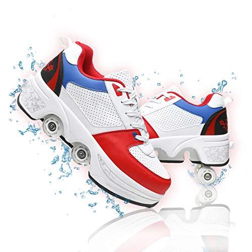GGXINT Zapatos Multiusos 2 En 1 Hombres Mujeres Patines con Ruedas Aire Libre Y Deporte Gimnasia Zapatillas Zapatos Ruedas Patinetas De Cuatro Ruedas Runaway,Red White Blue,38