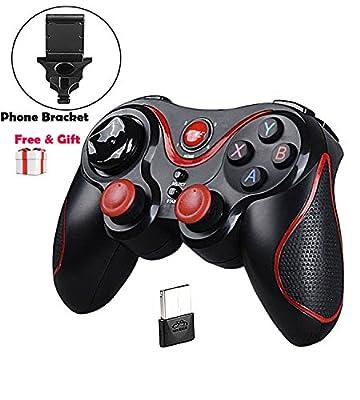 Maegoo PS3 Controller, Wireless Controller Gamepad for PS3 PC Smartphone Bluetooth Gamepad Joystick Controller for PC / PS3 / Smart TV/Smartphone with Phone Bracket [Windows]