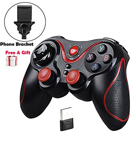 Mando Inalámbrico para Juegos, Maegoo 2.4GHz Bluetooth Game Controller Gamepad Joystick Inalámbrico con Soporte de Teléfono para Android Smartphone Xiaomi Huawei Samsung PC Windows PS3 Smart TV etc.