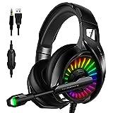 WRISCG Gaming Headset für PS4 PS5 PC Xbox One, 7.1 Kanal Stereo-Klang Gamer Kopfhörer mit RGB-Licht und verstellbarem Mikrofon, für Switch Laptop Mac Handy Tablet,D