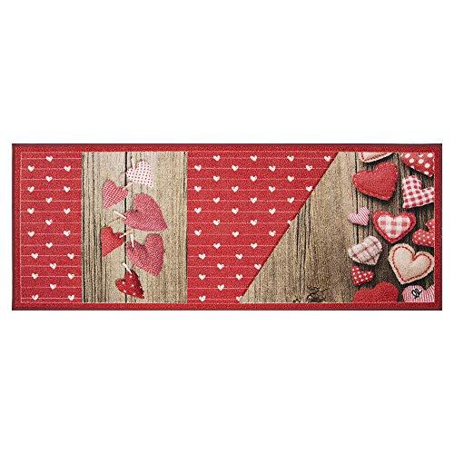 Olivo.Shop - New Smile Modern Love, Tappeto corsia Antiscivolo da Cucina Stile Shabby Chic (57x240 cm)