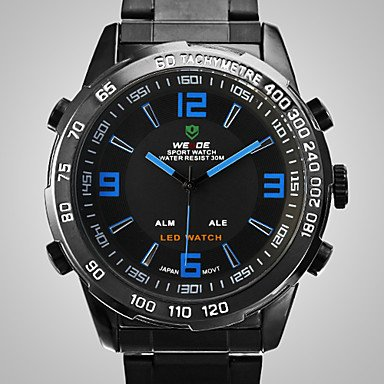 XKC-watches Herrenuhren, Weide Herrenuhr Analog-Digital-LED-Display wasserdicht Edelstahlband Sport-Armbanduhr (Farbe : Schwarz-Blau)