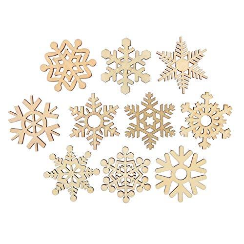 Happyyami Piezas de Madera para Manualidades Colgantes de Navidad Formas de Flores sin terminar para centros de Mesa Adornos Adornos