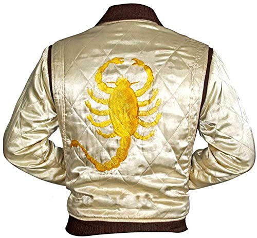 Men Ryan Gosling Drive Scorpion Jacket White Satin Bomber Jacket -Satin Bomber Jacket-Men's Satin Jacket-Drive Scorpion Jacket-Men Bomber jacket-Men Jackets (Large)