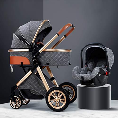YXCKG Cochecito de bebé Carro de bebé Compacto Plegable 3 en 1, Sistema de Viaje para Cochecito para bebés y niños, con Almohadilla de enfriamiento Protector de Lluvia Mosquitera para reposapiés