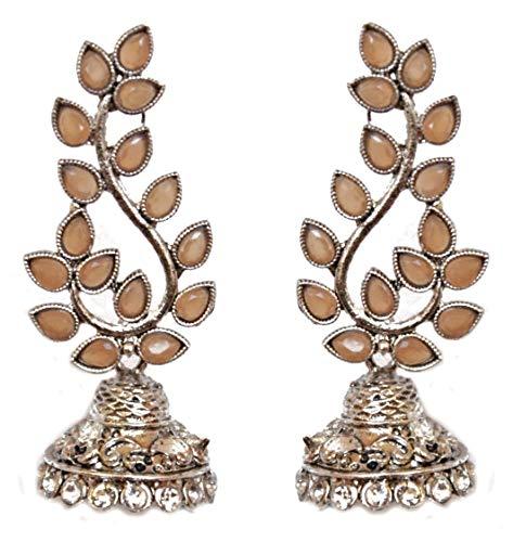 Pahal - Pendientes largos de plata con diseño de hojas de Kundan de color beige