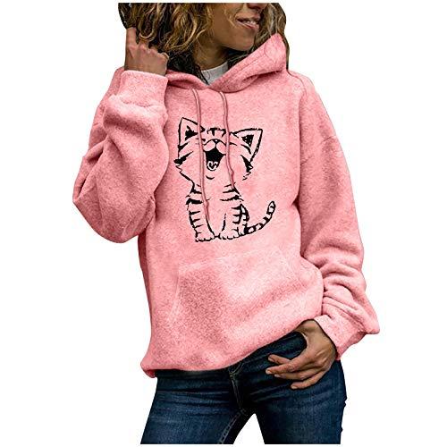 Dicomi Damen Casual Hoodies Outwear Fashion Cat Print Pullover Tops Damen Sweatshirt Bluse Tee Gr. 38, rose