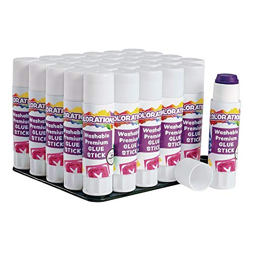 Colorations Washable Premium Glue Sticks for Home and Classroom, Applies Purple, Dries Clear - Set of 30,PREPURP