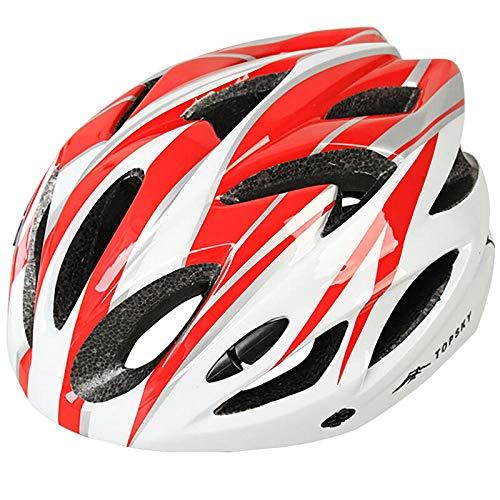 Fahrradhelm Elektroauto Helm Mountainbike Reithelm Rennrad Integrierter Schutzhelm Herren- und Damenausrüstung - Rot und Weiß