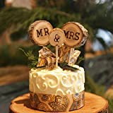 3 Pcs Mr&Mrs Toppers Natural Wood Cake Decoration Chic Rustic Wedding Mr Mrs Letter Topo for Couple Sweetheart Party Anniversary Birthday