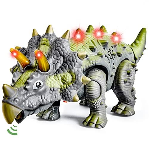 HERSITY Triceratops Spielzeug Groß, Elektronischer Dinosaurier mit Gehen, Brüllen, Leuchtenden Dino Realistische Figur Kinderspielzeug ab 3 4 5 Jahren Kinder, Grün