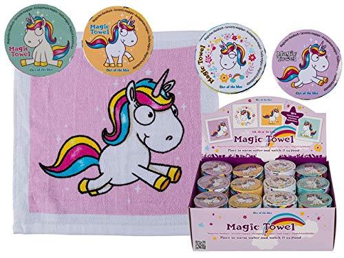 Palleon Juego de 12 toallas mágicas de algodón, diseño de fútbol y unicornio