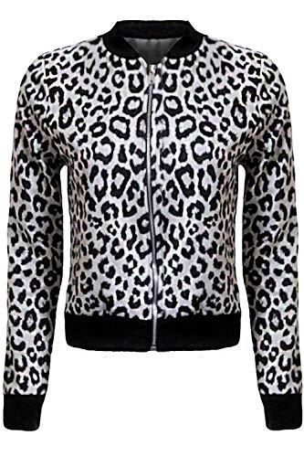 Fantasia Boutique ® Dames Nieuwe Luipaard Print Korte vrouwen Zip Bomber Jas
