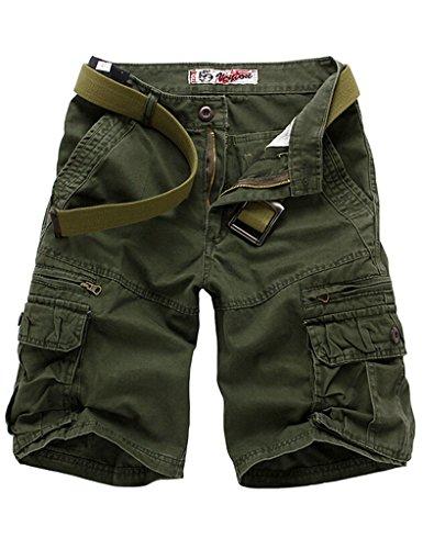 Bestgift Herren Shorts 5 Farbe 5 Größe Kurze Hose ohne Gürtel Armee Grün XL