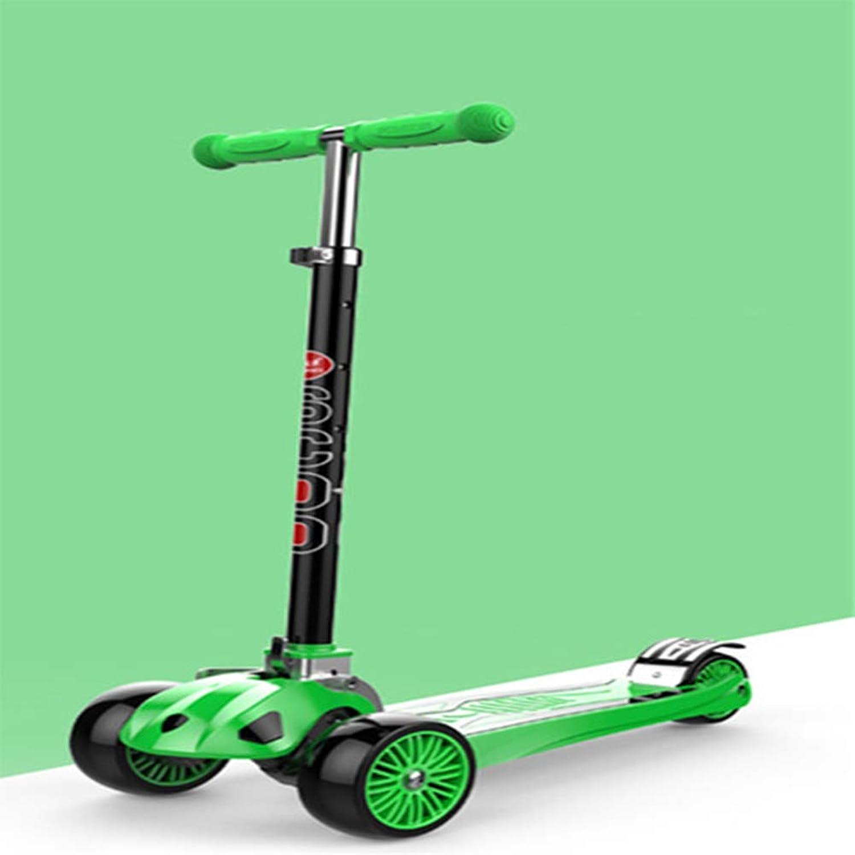 alto descuento YL Los Niños Niños Niños al Aire Libre Scooter Elevador Plegable de aleación de Aluminio Rueda de Flash de Tres Ruedas Scooter Pedal Scooter Regalo de cumpleaños,verde  la mejor selección de