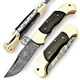 Back Lock Double Bolster Buffalo Horn 8'' 100% Handmade Damascus Steel Folding Pocket Knife 100% Prime Quality