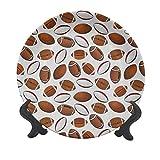 American Football Assiette décorative en céramique de 15,2 cm, design classique avec ballons de rugby de style dessin animé, pour les compétitions sportives