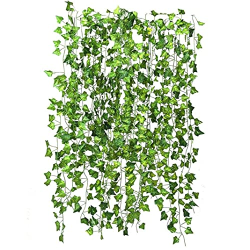 Artificial Hanging Vine Fake Ivy Garland Plant Green Leaves 83ft for Wedding Balcony Garden Decor 12PCS