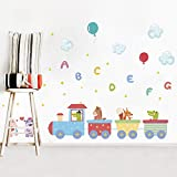 Stickers muraux Animaux Train Anglais Lettres Ballon Stickers Muraux Chambre d'enfants Décoration Maison Salon DIY PVC Enfants Fête Murale Décor 121 * 71 CM