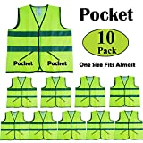CIMC, 10 Pack,Yellow Reflective Safety Vests with Pockets, High Visibility Bright Construction Vest with Sliver Strip, Hi Vis Vest Made from Neon Yellow Mesh,Working outdoor for man,woman (yellow)