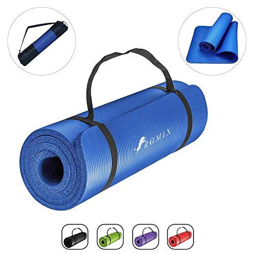 ROMIX Yoga Mat, 10 MM Dik Eco Vriendelijk Schuim Oefening Mat met Draagtas en riem, Niet Slip Gewatteerde Oppervlak Perfect voor Mannen Vrouwen Thuis Gym Fitness Pilates Workout Camping Meditatie - 180 x 60 x 1 CM