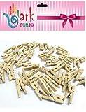 Ark Craft Lot de 100 Mini Pinces à Linge en Bois Naturel