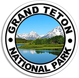 American Vinyl Round Grand Teton National Park Sticker (Camp rv Hike Hiking)