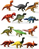 HAPTIME Plastic Assorted Mini Dinosaur Figures, Little Dinosaur Figurine, Small Dino Toy 1.5 inch - 3 inch, Great for Dino Cake Topper Pack of 12