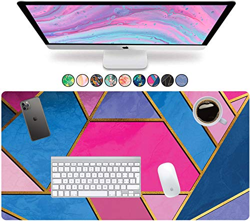 French Koko Desk Pad Protector, Large 31' x 15' Cute Desk Decor, Laptop Mat, Desk Writing Pad, Office Mouse Pad Computer Mouse, Home Office Accessories Mouse Pad Mousepad (Geometric Pink and Blue)