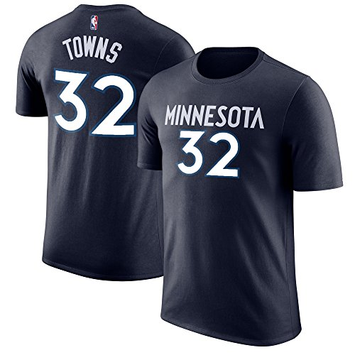 Outerstuff NBA Youth Performance Game Time Team Color Player Name and Number Jersey T-Shirt (Large 14/16, Karl-Anthony Towns)