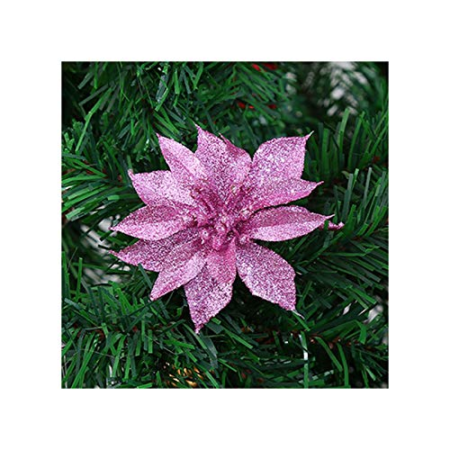 YWZQ Christmas Hollow Flower Hanging Garland Decoration 10 Pieces Large Poinsettia Glitter Tree Flower Hanging Party Christmas Decor Gift