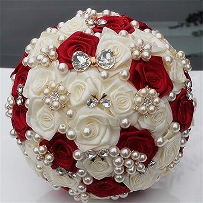 FYSTORE Hand Made Silk Rose Rhinestone Brooch Wedding Bouquets Customization Pearls Bride Bridesmaids Holding Flowers 17CM (Wine Red+Ivory)