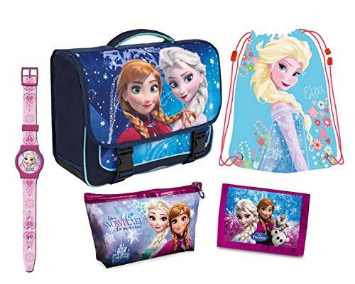 Set 5 Pezzi, Zaino Scuola Portafoglio con Portamonete Sacca-zaino Orologio (batteria inclusa) Astuccio. Disney Frozen Originali