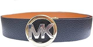 Michael Kors Womens Signature Two Tone MK Buckle Reversible Leather Belt Black/Brown (XL)