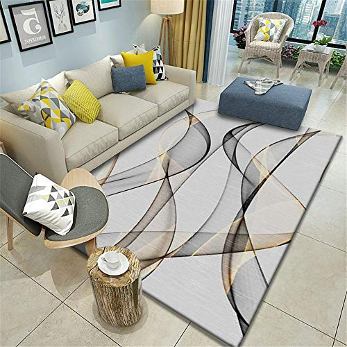 MMHJS European-Style Simple Geometric Carpet Living Room Bedroom Waterproof Non-Slip Floor Mat Soft Full-Cover Hotel Banquet Party Carpet