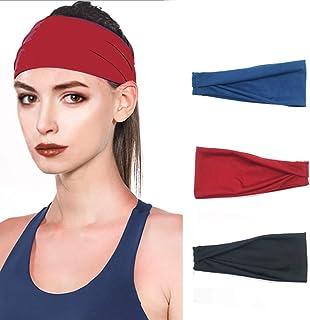 Ushiny - Fascia elastica per capelli boho annodata con turbante, per yoga, per donne e ragazze (3 pezzi)