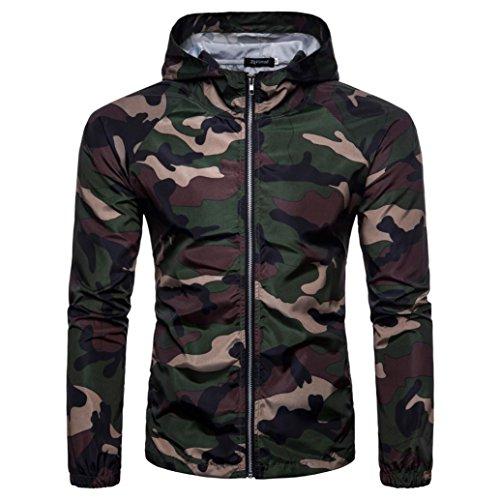 Mannen Shirts Daoroka Mannen Jongen Camouflage Casual Suntan Hoodie Lange Mouw Rits Blouse Slim Fit Mode Tops Comfort T Shirt L Leger Groen