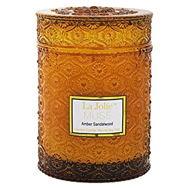LA JOLIE MUSE Wood Wick 21Oz Sandalwood Scented Candles Soy Wax Candle Large Glass Jar 90 Hours, Gift Candle for Mothers Day