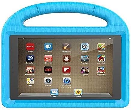 ThreeJ F i r e H D 8 case, Light Weight Shock Proof Portable Handle Soft Foam Case [Kickstand Kids Friendly] for F i r e H D 8 Tablet(7th Gen / 6th Gen, 2017/2016 Realease) (Blue)
