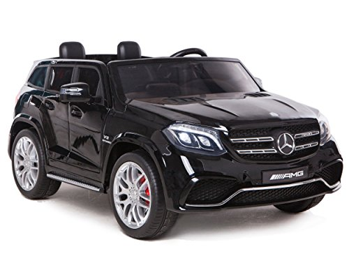 RC Auto kaufen Kinderauto Bild: ES-TOYS Kinderfahrzeug - Elektro Auto Mercedes GLS63 AMG - lizenziert - 2X 12V7AH Akku,4 Motoren- 2,4Ghz Fernsteuerung, MP3 Ledersitz (Schwarz)*