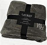 Ralph Lauren Classic Charcoal Gray Micromink Plush All Season Blanket |...