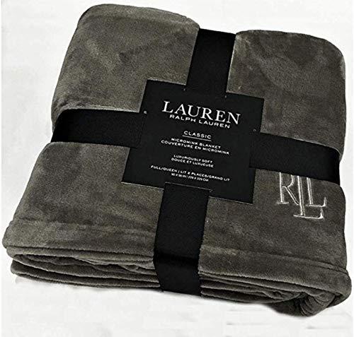 "Ralph Lauren Classic Charcoal Gray Micromink Plush All Season Blanket | Full/Queen 90"" x 90"" | Machine Wash, Tumble Dry"