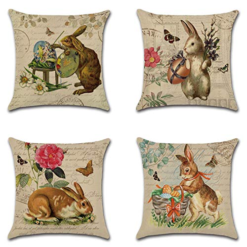 MUMEOMU Kissenbezug 45x45 Ostern Bunny Series Kissenbezüge Oster-Deko Hase mit Bunny Muster Sofakissen Osterhase Kissenhülle Pillowcase für Ostern Dekoration Party Supplies