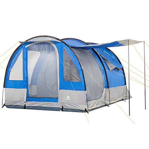 CampFeuer Campingzelt Smart für 4 Personen | Großes Familienzelt mit 3 Eingängen und 2.000 mm Wassersäule | Tunnelzelt | Gruppenzelt (blau/grau)