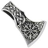Hacha celta con brújula vikinga Colgante de Plata 925