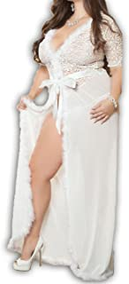 690 - Plus Size Fur Trim Valentines Wedding Bridal Sleep Long Maxi Length Robe White