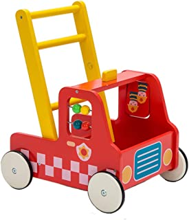 Children 2-in-1 Little Red Fire Engine Wooden Baby Push Walker Toddler Push & Pull Toys Activity Walker Stroller Walker Toy Wagon with Wheels for Baby Girls Boys 12 M+